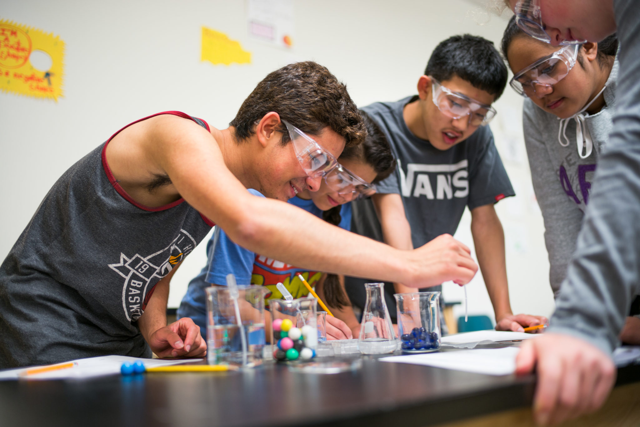 Students in a lab at Everest Public High School